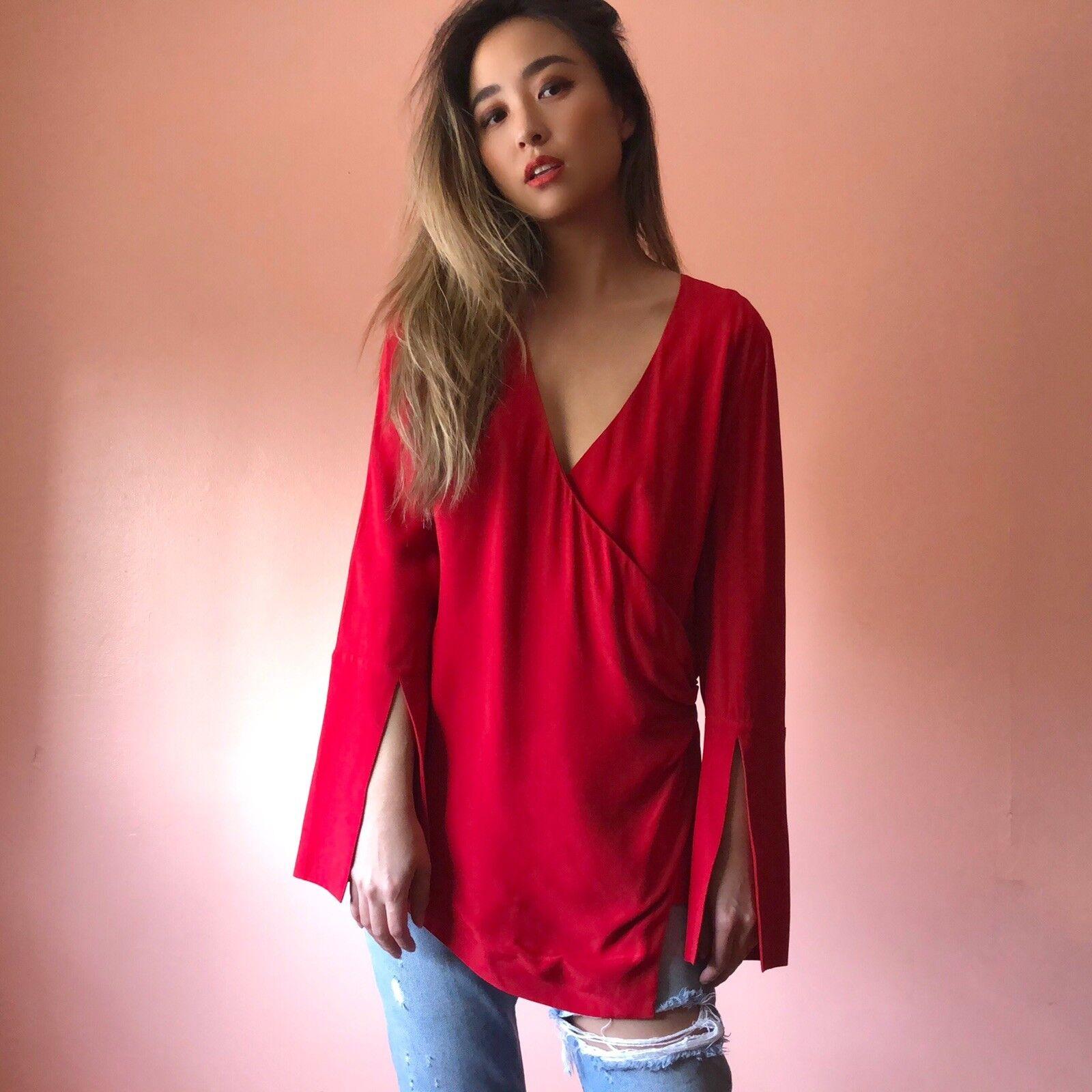 C MEO Collective Crimson Tunic Blouse