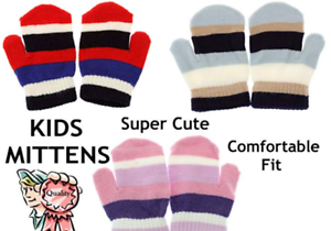 Kids Mittens Children Magic Mitts Striped One Size Fits All Quality Winter Value