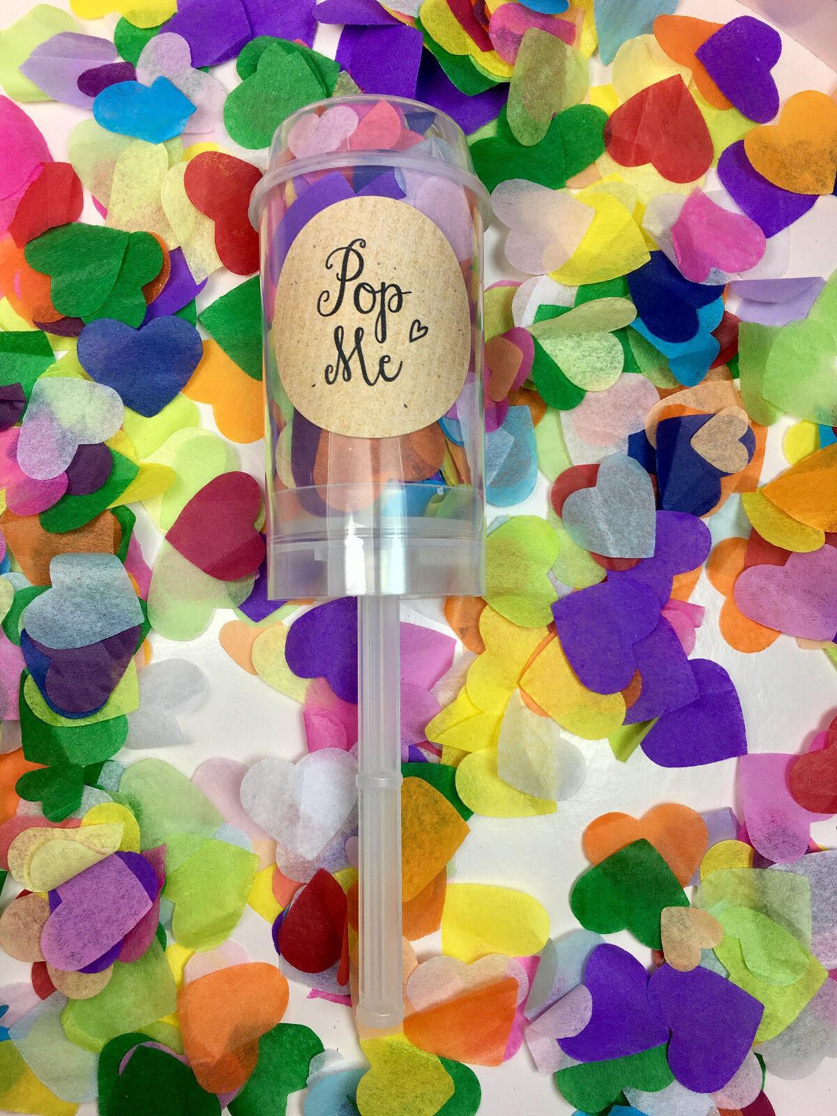 Confetti Push Pop Biodegradable Hearts Rainbow Wedding Flutter