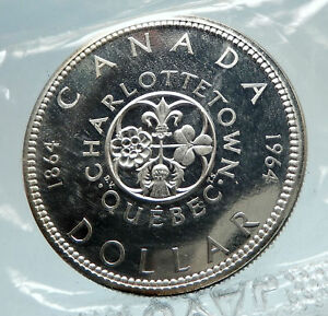 1964-CANADA-Quebec-Charlottetown-Antique-Genuine-BIG-SILVER-Dollar-Coin-i75288