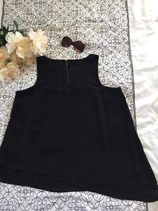 Torrid-Women-s-Plus-Size-0-Black-Sheer-Tank-Top-Tunic-Asymmetric-Hem-Back-Zipper