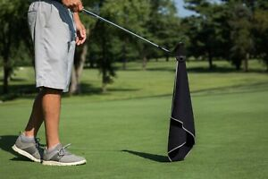 MAGNETIC-GOLF-WAFFLE-MICROFIBER-TOWEL-BLACK-GRAY-STICK-IT-TO-GOLF-CART-OR-CLUBS
