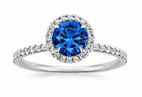 Real Gemstone Blue Sapphire 1.65ct Diamond Engagement Ring 14k White Gold Size M