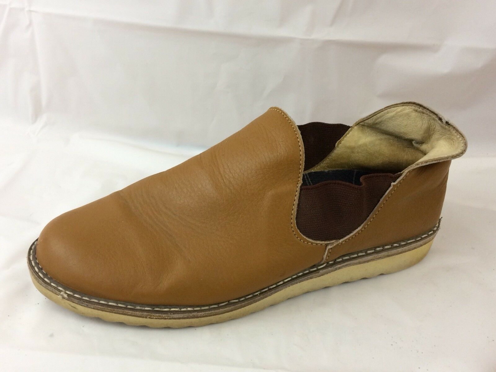 Vulcan Camel Brown Leather Mens 9.5 E WIDE Slip On Ankle Boots Casual Work Shoes