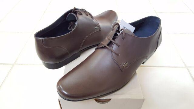 bd759798bc374 Lacoste Henri MEN S Leather Oxford Dress Formal SHOES Brown US9.5  UK8.5