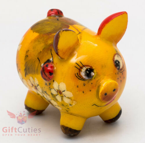 Wooden Pig Piglet w Ladybugs figurine handmade in Russia Symbol of 2019 Year
