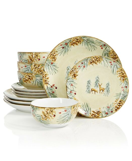 222 Fifth First Snow 12 Piece Holiday Dish Set For Sale Online