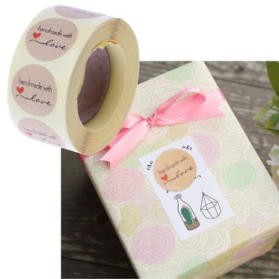 JANSONG 1 roll of 500 Hand-Made Gold Brown Paper Stickers for Decoration of Any Handmade Product 1 inch in Diameter