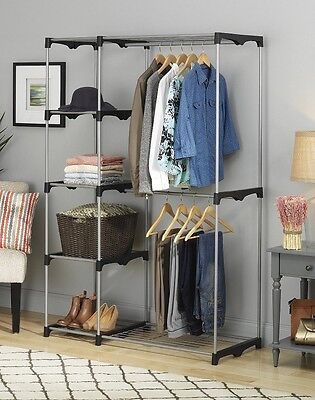 Closet Organizer Rack Shelves Clothes Wardrobe Shelf Storage System Bedroom  Kit | eBay