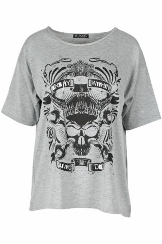 Womens Ladies Skull Enemy Within Living Dead Batwing Baggy Oversized T Shirt Top