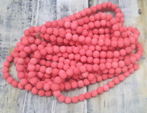 Natural Lava Beads Cerise 8mm Round 35cm Strand Free postage Oz Seller
