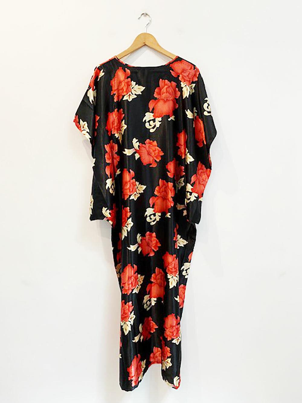 Designer SINGAPORE VTG Free Größe Silk Blend Floral Maxi Woherren Dress