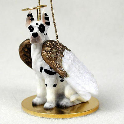 Great Dane Dog Figurine Angel Statue Hand Painted Harlequin