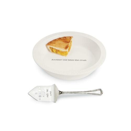 "Mud Pie Circa White /""Another One Bites the Crust/"" Dessert Pie Plate"