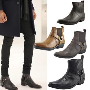 Details zu Mens Biker Ankle Boots Leather Cowboy Western Harness Buckle Cuban Heel Shoes UK