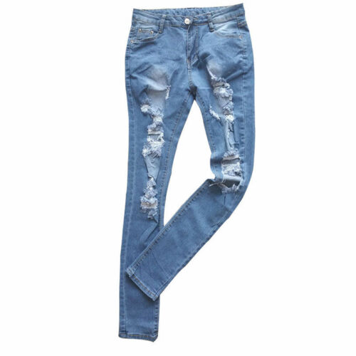 Damen Jeanshose Destroyed Zerrissen Boyfriend Jeans Löcher Distressed DenimHose | eBay