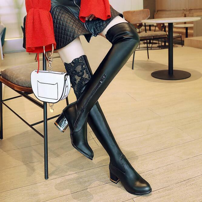 2019 Occident Autumn Winter New Block Heel Over The Knee Boots Sweet Womens shoes