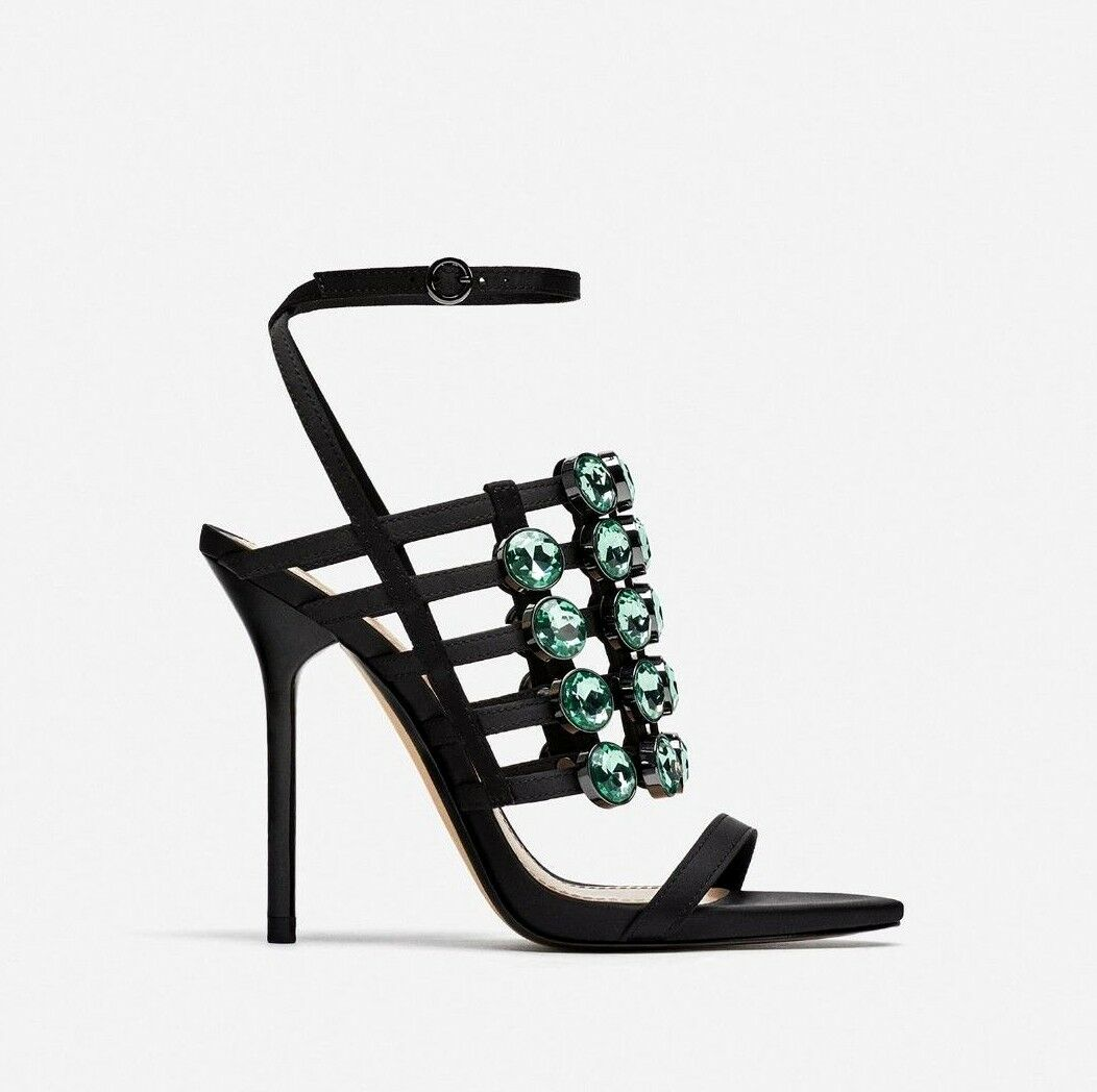 AMAZING ZARA BLACK JEWELLED HIGH HEEL SANDALS SIZE USA UK 5 EU 38 USA SIZE 7,5 b50a53