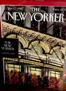 The-New-Yorker-Holiday-Christmas-8-Greeting-Cards-Jan-18-1988-Envelopes-New