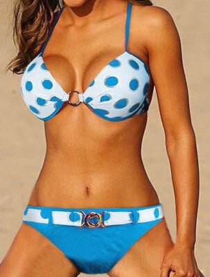 Sexy big round blue padded bikini underwire swimwear SWIMSUIT US SIZE M L XL XXL
