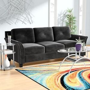 Details about Living Room Sofa Couch Black Microsuede Microfiber Medium  Firm Contemporary