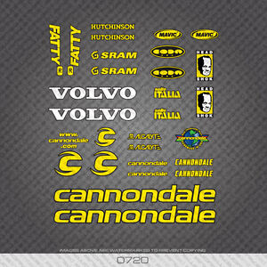 0720-Cannondale-Fatty-Bicyclette-Autocollants-Decals-Transferts-Jaune