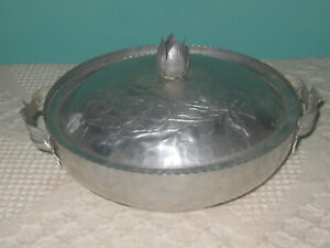 Vintage-Hammered-Aluminum-Covered-Bowl-Floral-with-Handles