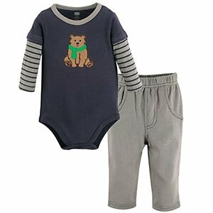 Hudson Baby - Baby Boys Navy & Grey 2 Piece Bear Long Sleeve Set