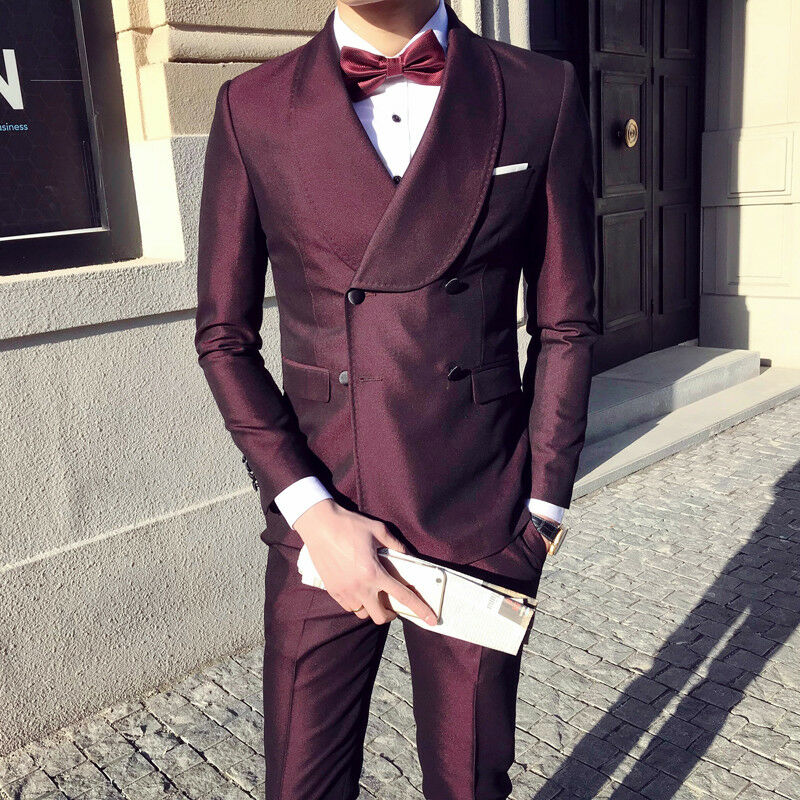 Men's Wine Red Glossy 3 Pcs Suits Double-breasted Lapel Slim Wedding Groom Suits