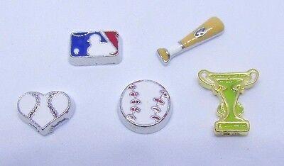 Baseball heart bat major league trophy sports Floating charms for living locket