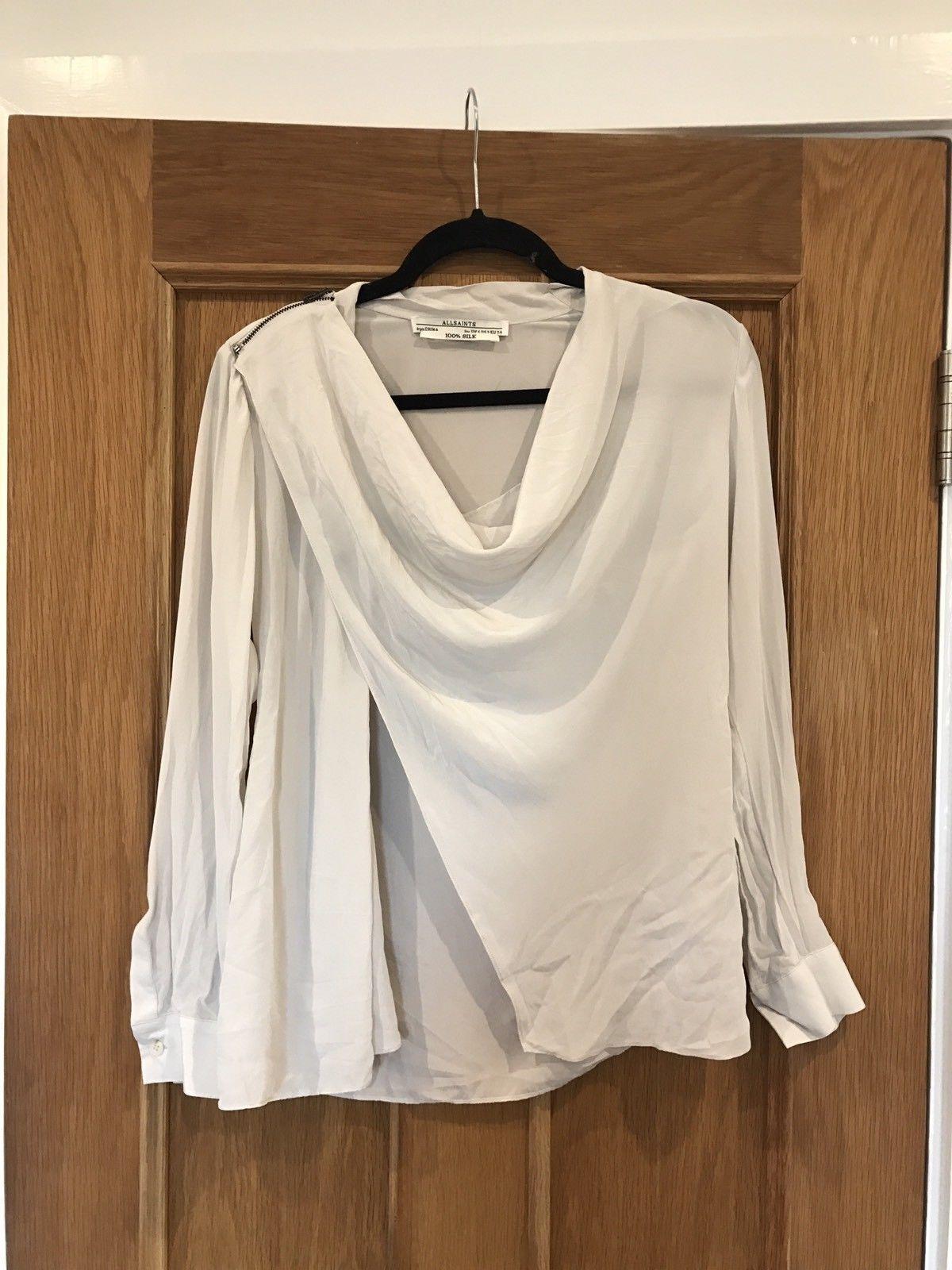 d9922bef171 ALLSAINTS Gorgeous 100% Silk Cream Rina Zip Drape Blouse UK10
