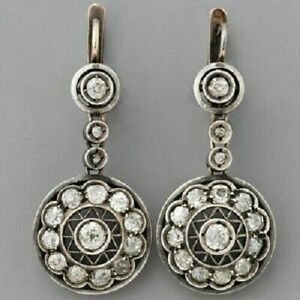14K-White-Gold-FN-Art-Deco-3CT-Round-White-Diamond-Cluster-Style-Earrings-925-SS