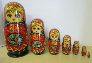 russian nesting doll Set Of 7 Hand made 7.5 inchs tall red US Seller