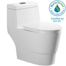 Woodbridge Dual Flush Elongated One Piece Toilet with Soft Closing Seat T0001W