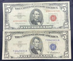 US-Paper-Currency-5-Dollar-Collection-5-Dollar-Red-Seal-amp-5-Dollar-Blue-Seal