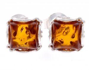 CERTIFIED-925-Sterling-Silver-Designer-Square-Baltic-Amber-Studs-Earrings-K003
