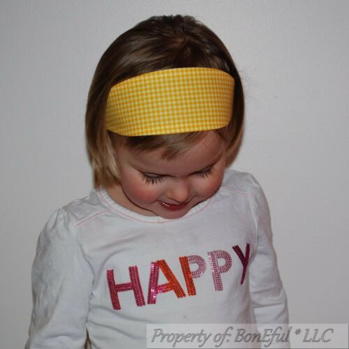 BonEful RTS NEW Boutique Fabric Headband VTG Yellow Gingham Check FUN Girl Scout