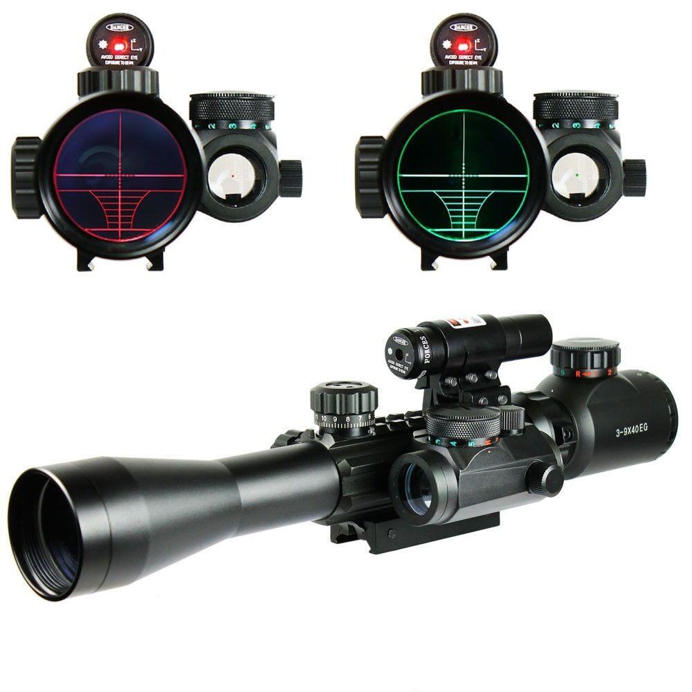 Nuevo Mira para rifle 3-9X40 táctica iluminado con visor de punto rojo láser & Holográfico