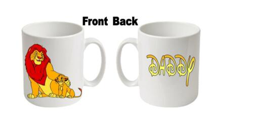 """age etc message Personalised  Printed /""""LION KING/""""  Boxed White Mugs Any name"""