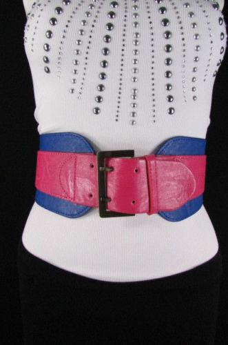 "New Women Cobalt Blue Pink Western Faux Leather Elastic 4/"" Wide Fashion Belt S M"