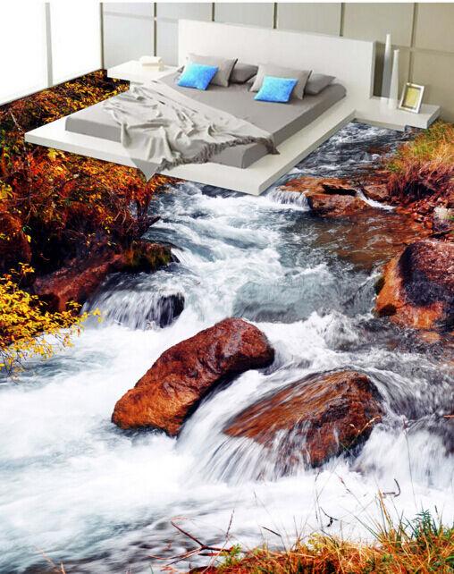 3D Rote Felsen im Strom 208 Fototapeten Wandbild Fototapete BildTapete FamilieDE
