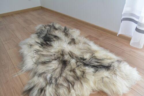 Blanc-Noir Islandais Peau De Mouton Tapis Doux réel de 100/% Naturel Cheveux longs merveilleuses