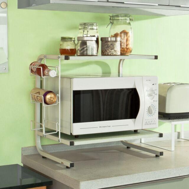 SoBuy® Mikrowellenhalter,Küchenregal,Miniregal,Mikrowellenregal,FRG092-W