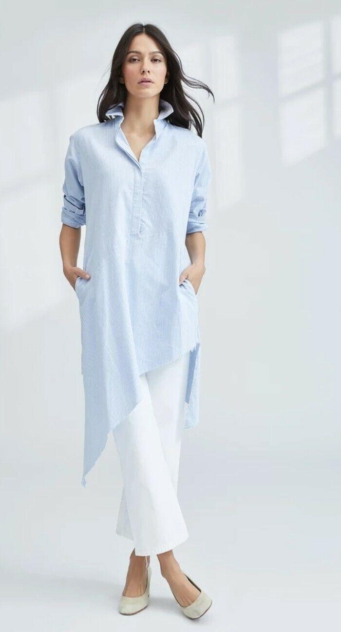 NWOT Frank & Eileen Drake Shirt Dress Med Lätt Blåa Stripe Molekläde Lagenlook