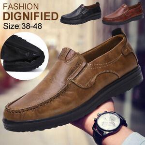 Zapatos-De-Cuero-Vestido-de-negocios-de-trabajo-para-Hombre-Oxford-Casuales-Mocasines-Sin-Cordones
