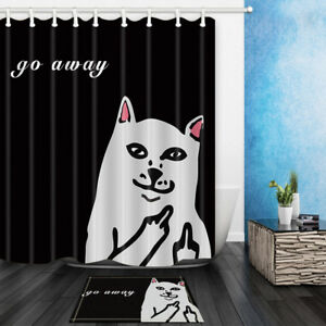 Funny Middle Finger Cat Shower Curtain With Hooks Bathroom decor 71inch Long