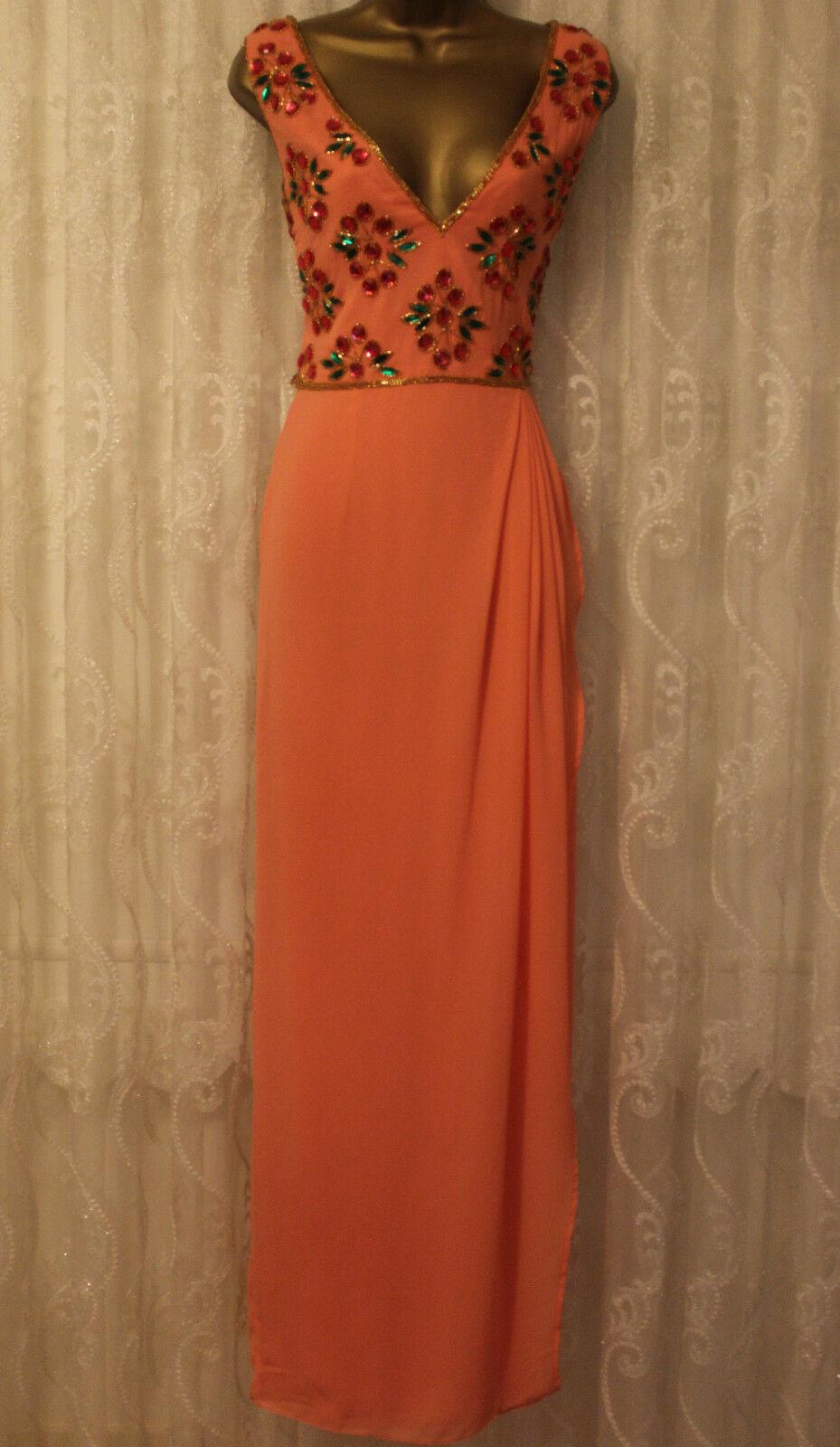 Virgos Lounge Peach Wrap Embellished Boho Maxi Occasion Party Dress & 12
