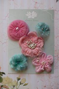 SUMMER-BRIGHTS-All-Fabric-Mixed-Designs-5-Flowers-35-60mm-across-Green-Tara