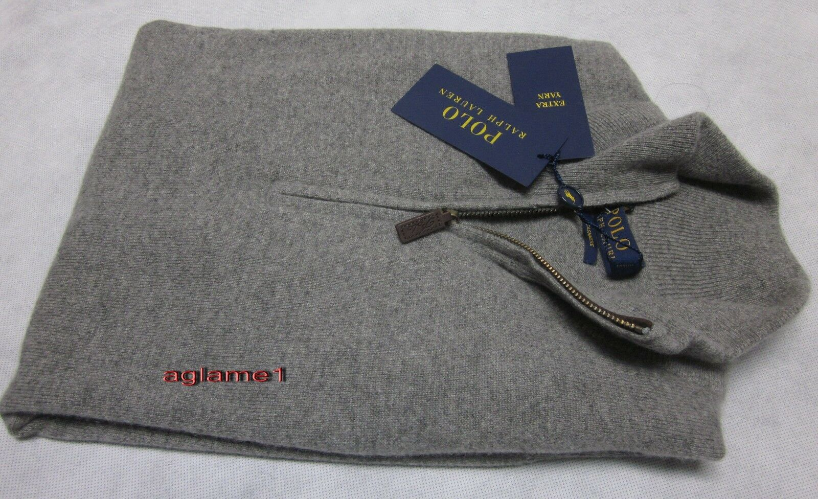 398 POLO RALPH LAUREN 100% cashmere Italian Yarn  half zip SWEATER S  grau
