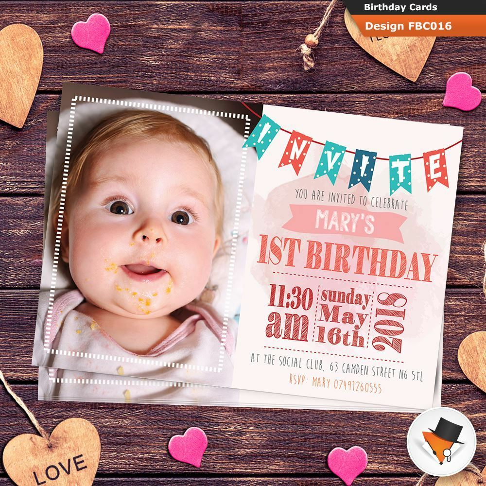 10 Personalised Girls First 1st Birthday Party PHOTO Invitations Invites